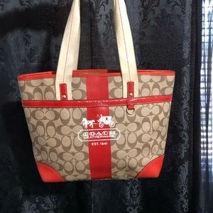 Authentic Coach Red Striped Tote 11350